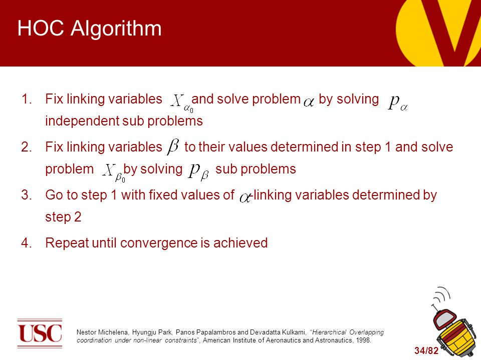 34/82 HOC Algorithm 1.Fix linking variables and solve problem by solving independent sub problems 2.Fix linking variables to their values determined i