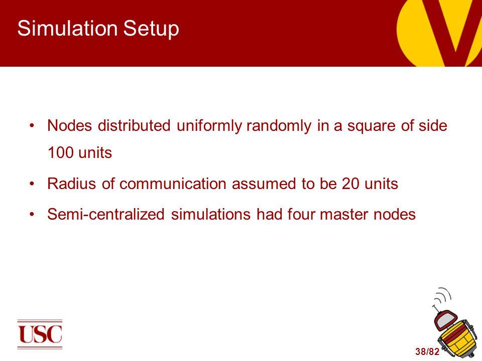 38/82 Simulation Setup Nodes distributed uniformly randomly in a square of side 100 units Radius of communication assumed to be 20 units Semi-centrali