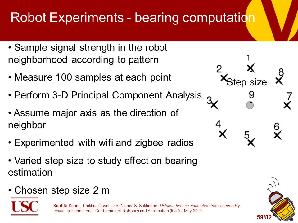 59/82 Robot Experiments - bearing computation Sample signal strength in the robot neighborhood according to pattern Measure 100 samples at each point