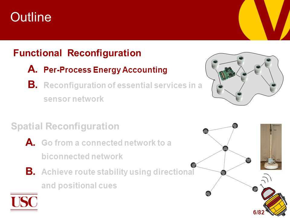 6/82 Outline Functional Reconfiguration A. Per-Process Energy Accounting B. Reconfiguration of essential services in a sensor network Spatial Reconfig