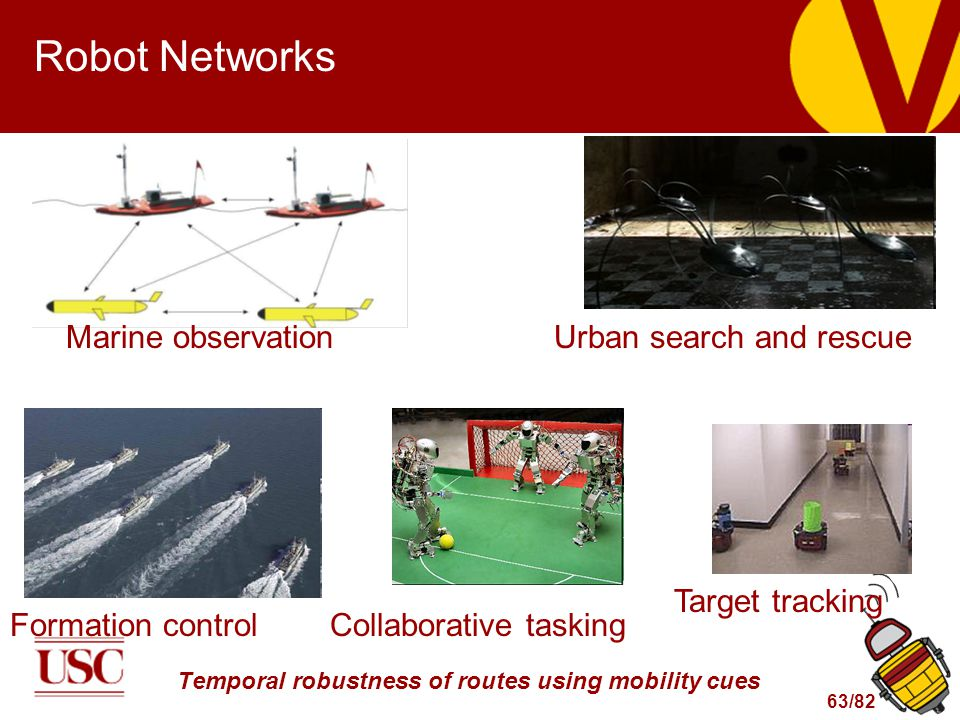 63/82 Robot Networks Marine observationUrban search and rescue Formation controlCollaborative tasking Target tracking Temporal robustness of routes using mobility cues