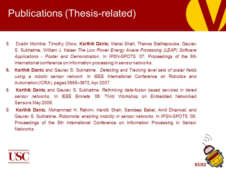 85/82 Publications (Thesis-related) 5.