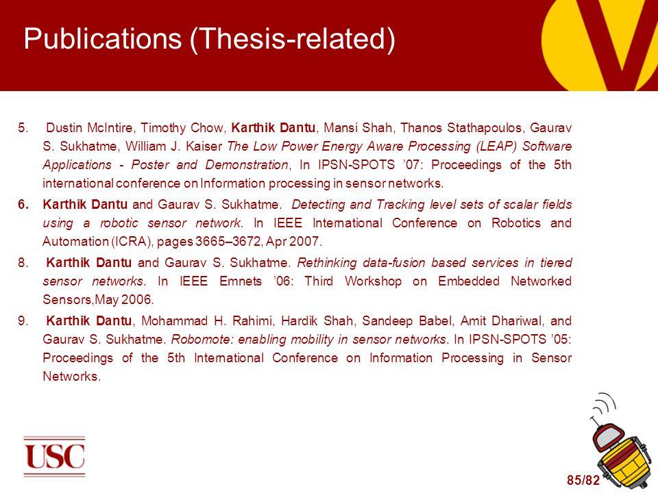 85/82 Publications (Thesis-related) 5. Dustin McIntire, Timothy Chow, Karthik Dantu, Mansi Shah, Thanos Stathapoulos, Gaurav S. Sukhatme, William J. K