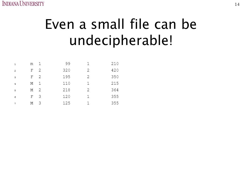 14 Even a small file can be undecipherable.