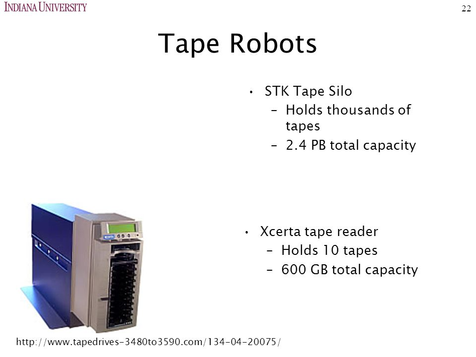 22 Tape Robots STK Tape Silo –Holds thousands of tapes –2.4 PB total capacity Xcerta tape reader –Holds 10 tapes –600 GB total capacity http://www.tapedrives-3480to3590.com/134-04-20075/