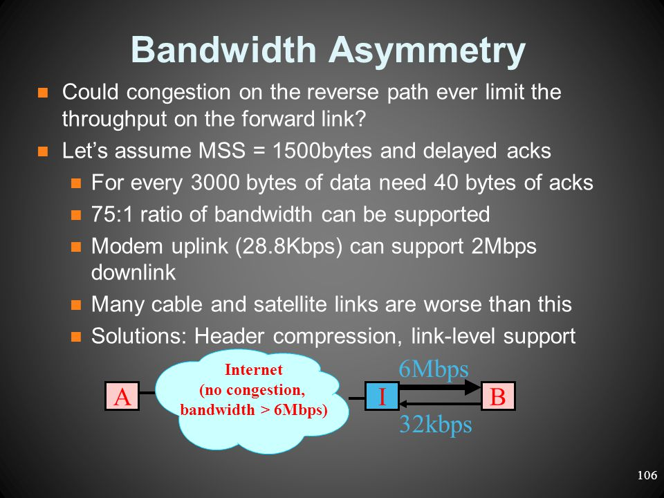Bandwidth Asymmetry Could congestion on the reverse path ever limit the throughput on the forward link? Let's assume MSS = 1500bytes and delayed acks