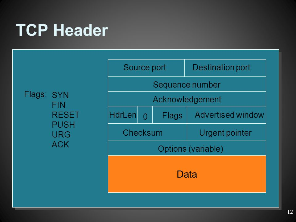 TCP Header Source portDestination port Sequence number Acknowledgement Advertised windowHdrLen Flags 0 ChecksumUrgent pointer Options (variable) Data