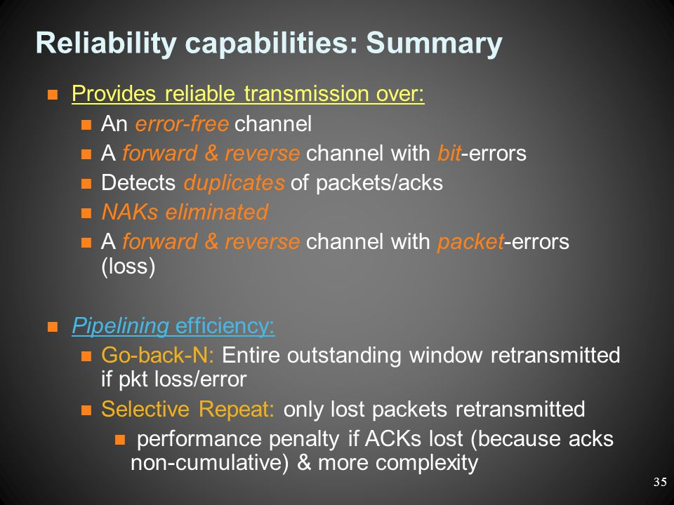 Reliability capabilities: Summary Provides reliable transmission over: An error-free channel A forward & reverse channel with bit-errors Detects dupli