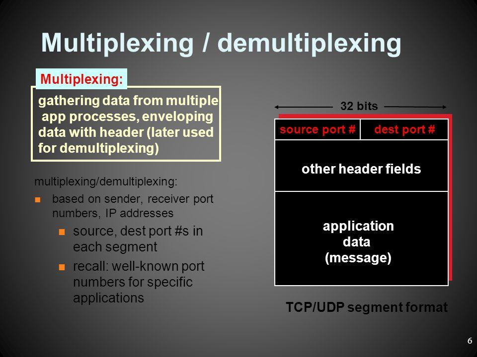Multiplexing / demultiplexing multiplexing/demultiplexing: based on sender, receiver port numbers, IP addresses source, dest port #s in each segment r