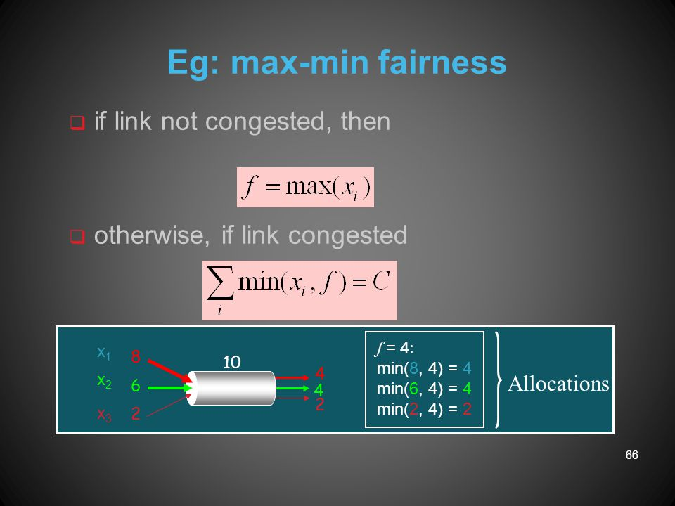 Eg: max-min fairness 8 6 2 4 4 2 f = 4 : min(8, 4) = 4 min(6, 4) = 4 min(2, 4) = 2 10 q if link not congested, then q otherwise, if link congested x1x