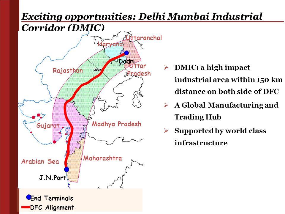 Exciting opportunities: Delhi Mumbai Industrial Corridor (DMIC) Haryana Rajasthan Gujarat Maharashtra Madhya Pradesh Uttar Pradesh Uttaranchal Arabian