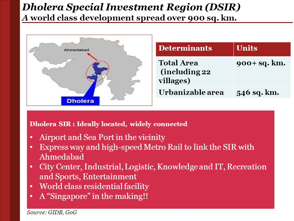 Dholera SIR : Ideally located, widely connected Airport and Sea Port in the vicinity Express way and high-speed Metro Rail to link the SIR with Ahmeda