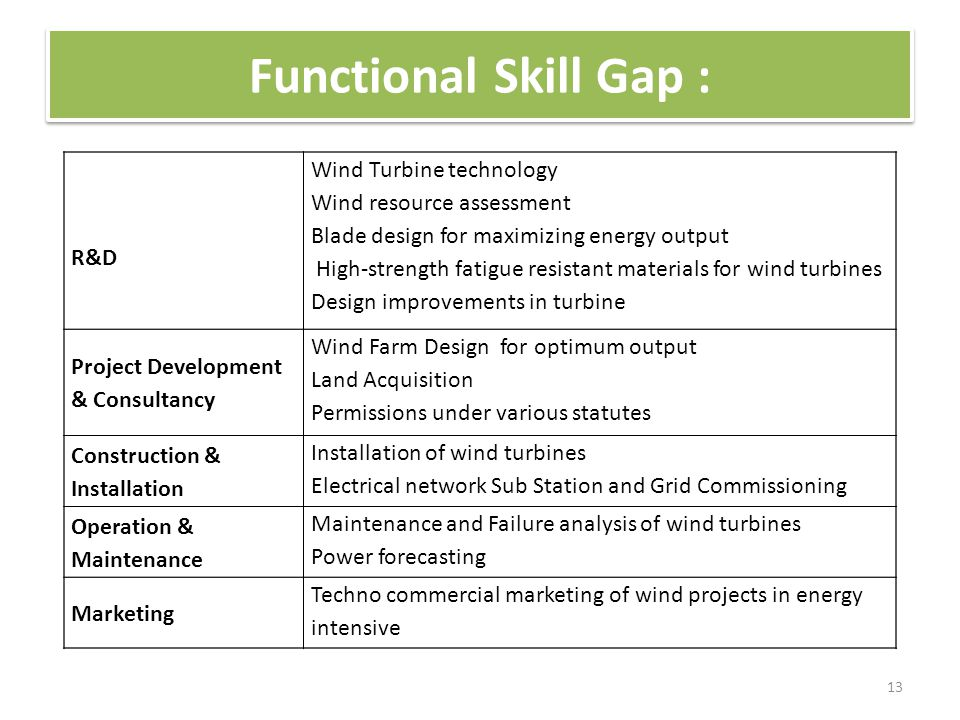 Functional Skill Gap : 13