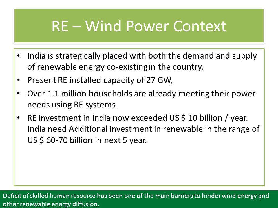 RE – Wind Power Context India is strategically placed with both the demand and supply of renewable energy co-existing in the country.
