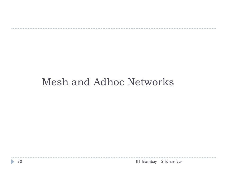 Sridhar IyerIIT Bombay30 Mesh and Adhoc Networks