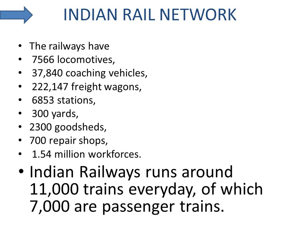 INDIAN RAIL NETWORK The railways have 7566 locomotives, 37,840 coaching vehicles, 222,147 freight wagons, 6853 stations, 300 yards, 2300 goodsheds, 70