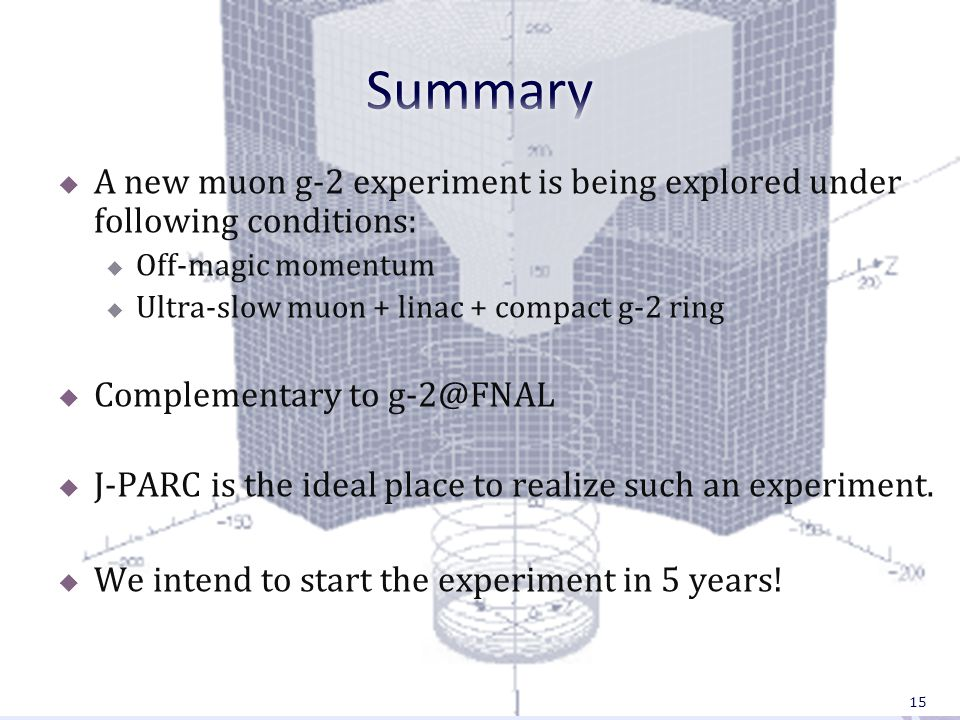  A new muon g-2 experiment is being explored under following conditions:  Off-magic momentum  Ultra-slow muon + linac + compact g-2 ring  Complementary to g-2@FNAL  J-PARC is the ideal place to realize such an experiment.