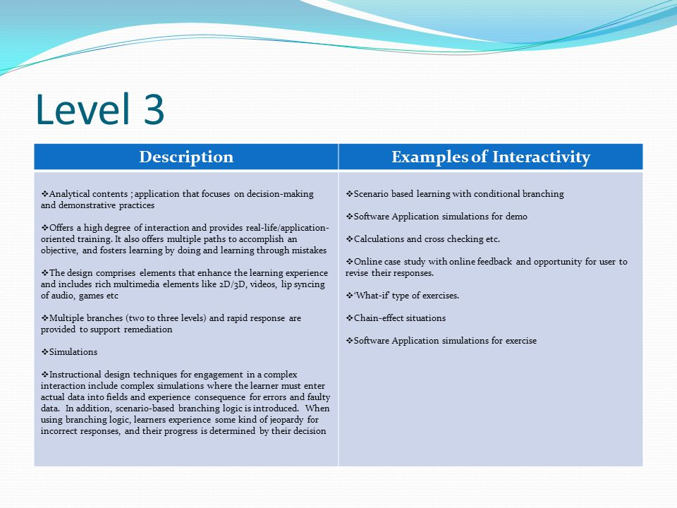 Level 3 DescriptionExamples of Interactivity  Analytical contents ; application that focuses on decision-making and demonstrative practices  Offers a high degree of interaction and provides real-life/application- oriented training.