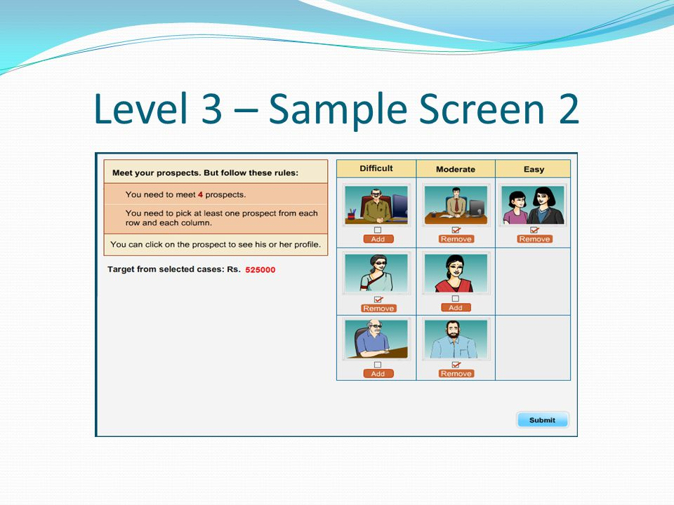 Level 3 – Sample Screen 2
