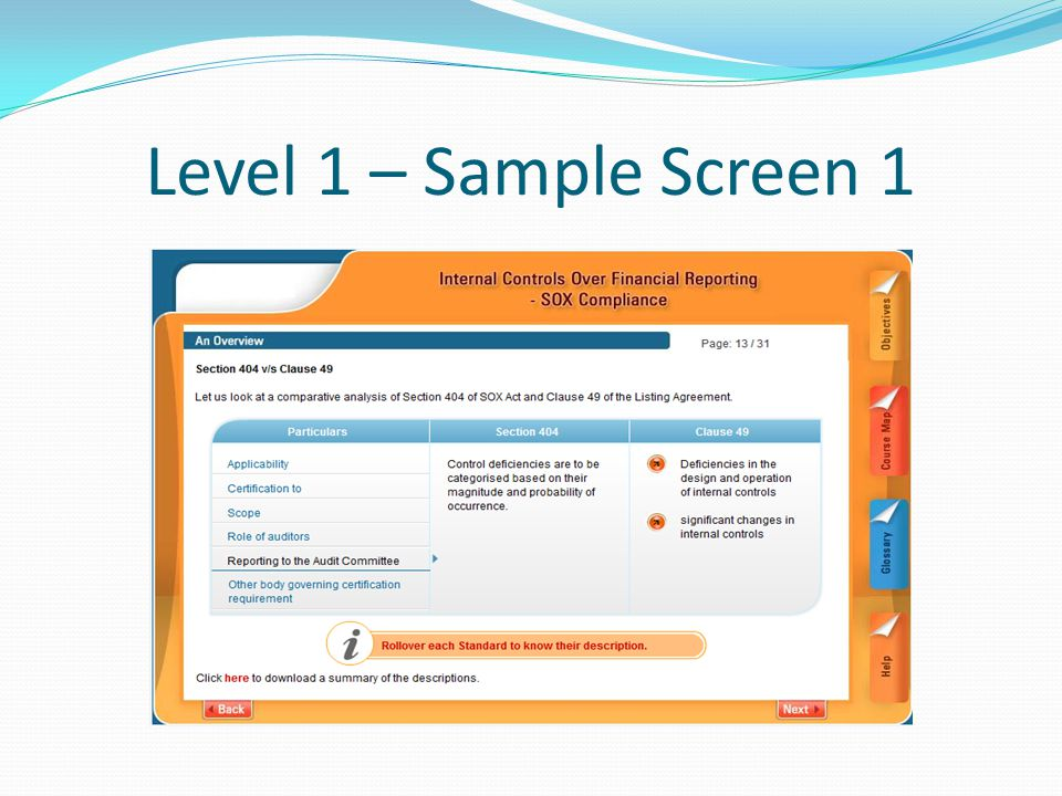 Level 1 – Sample Screen 1