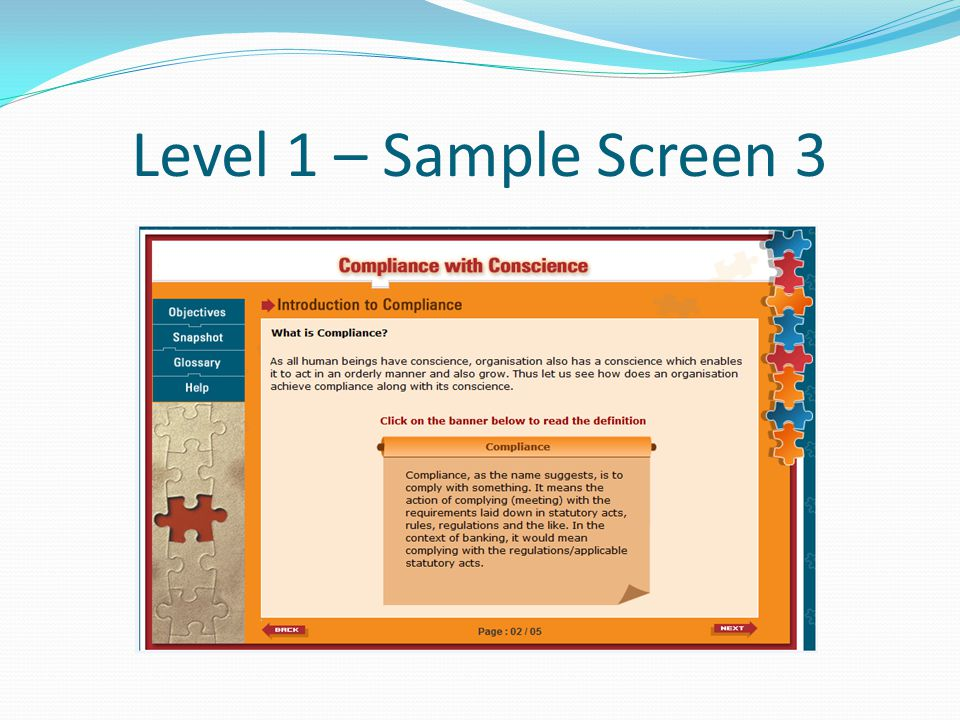 Level 1 – Sample Screen 3