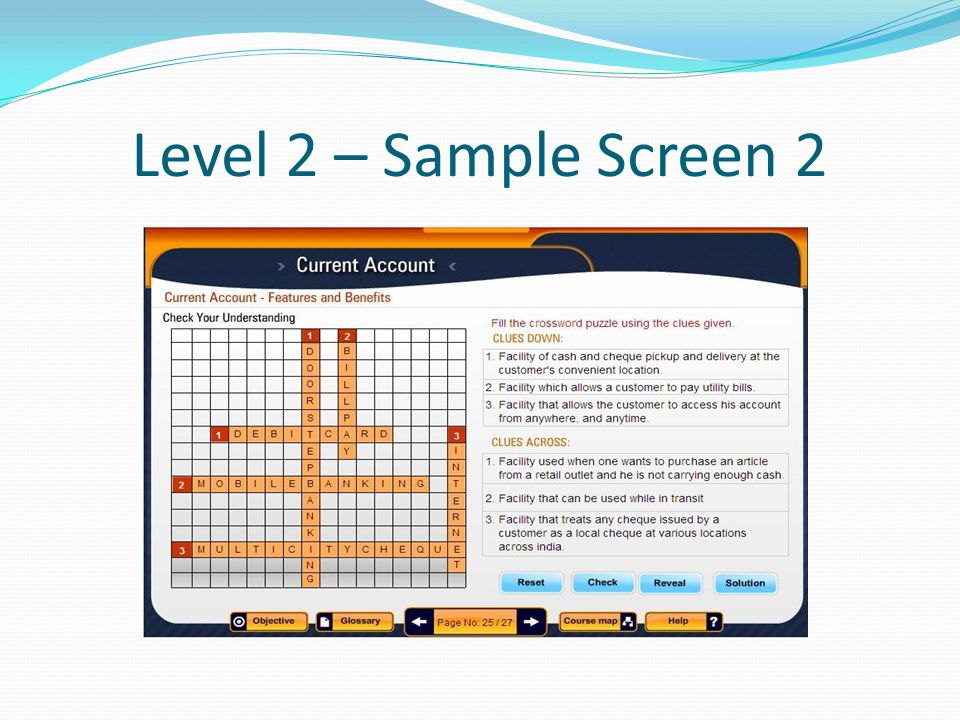 Level 2 – Sample Screen 2