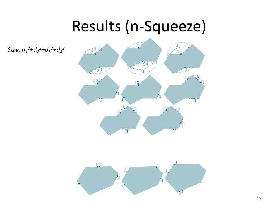 Results (n-Squeeze) Size: d 1 2 +d 2 2 +d 3 2 +d 4 2 19