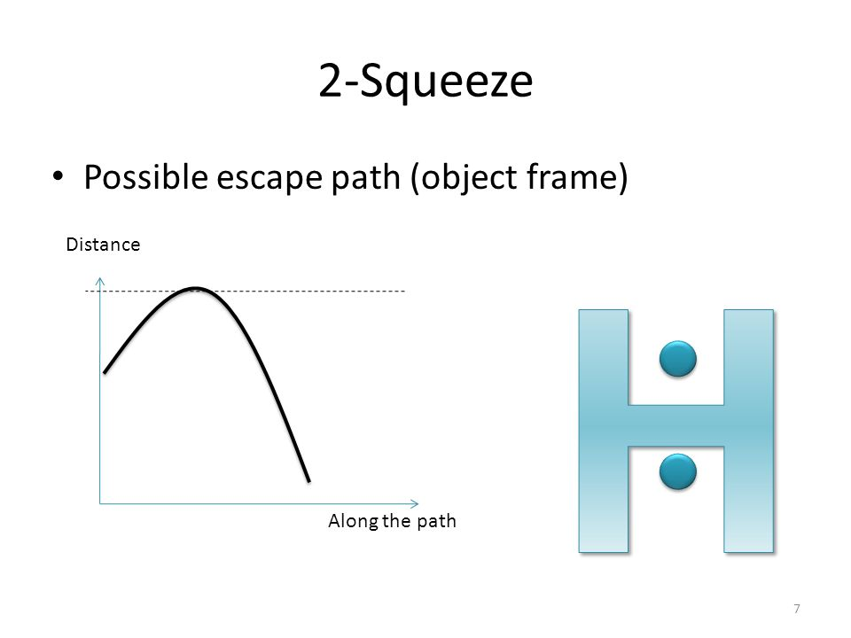 2-Squeeze Possible escape path (object frame) Along the path Distance 7