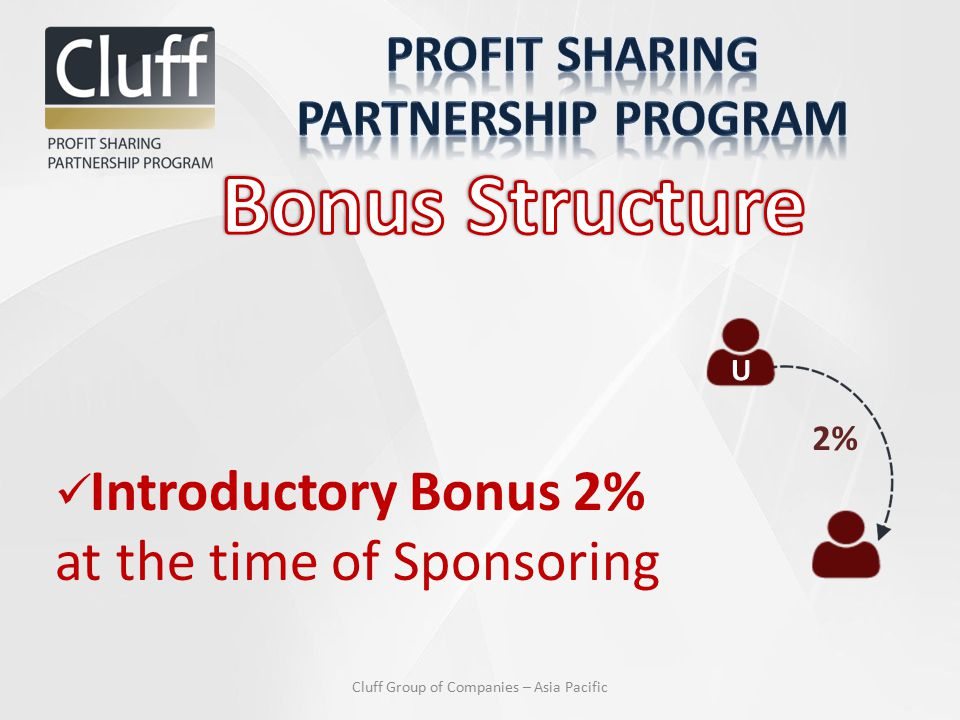 Introductory Bonus 2% at the time of Sponsoring U 2% Cluff Group of Companies – Asia Pacific
