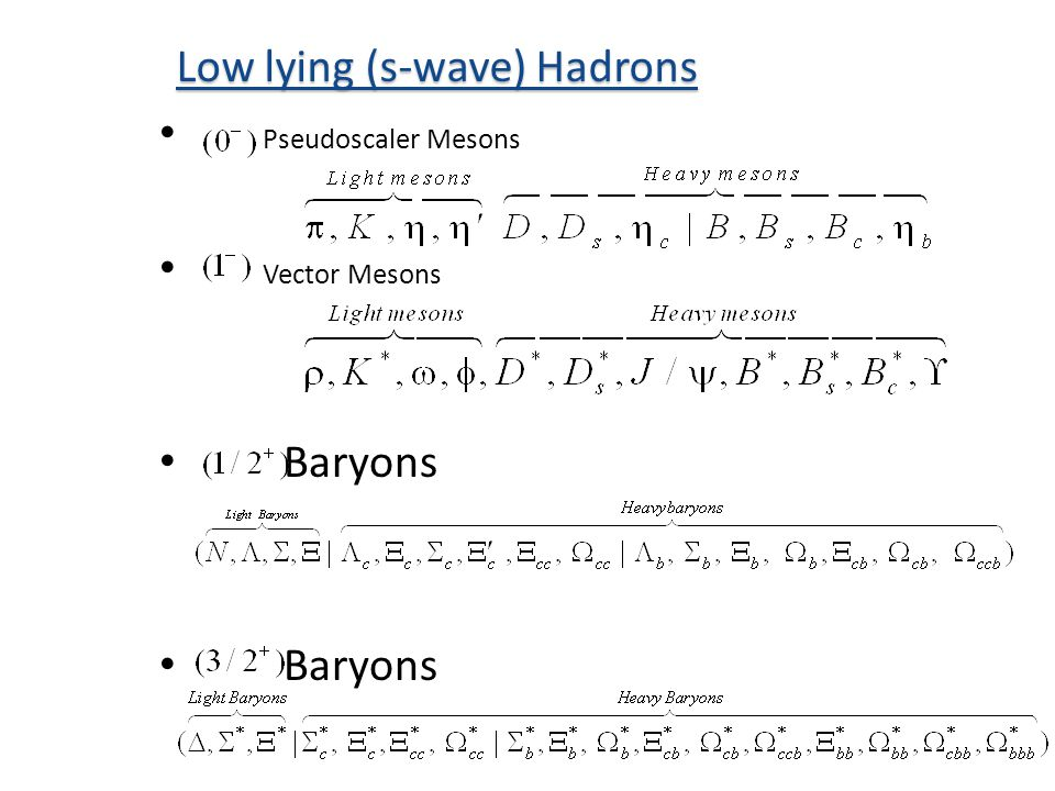 Pseudoscaler Mesons Vector Mesons Baryons Low lying (s-wave) Hadrons
