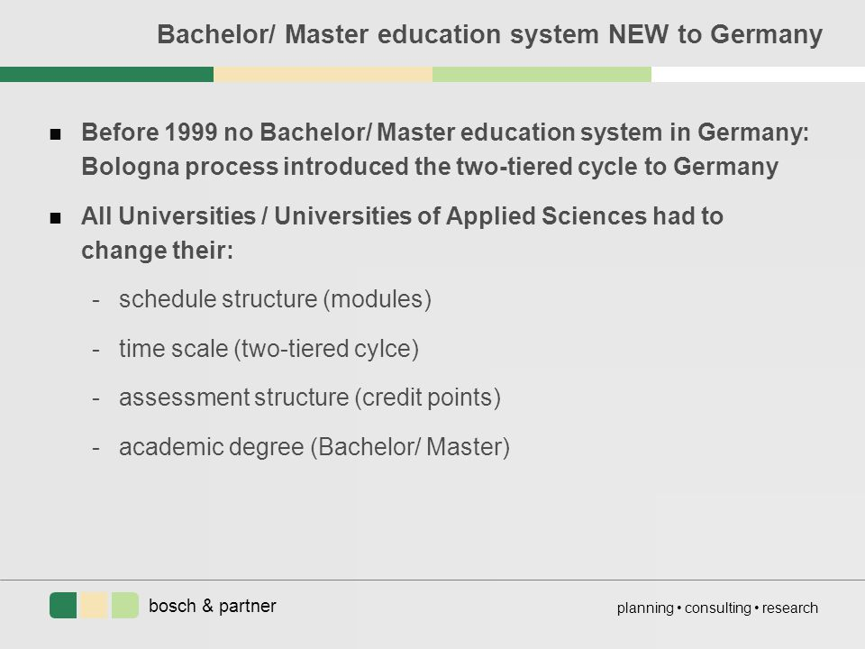 bosch & partner planning consulting research Bachelor/ Master education system NEW to Germany n Before 1999 no Bachelor/ Master education system in Germany: Bologna process introduced the two-tiered cycle to Germany n All Universities / Universities of Applied Sciences had to change their: -schedule structure (modules) -time scale (two-tiered cylce) -assessment structure (credit points) -academic degree (Bachelor/ Master)