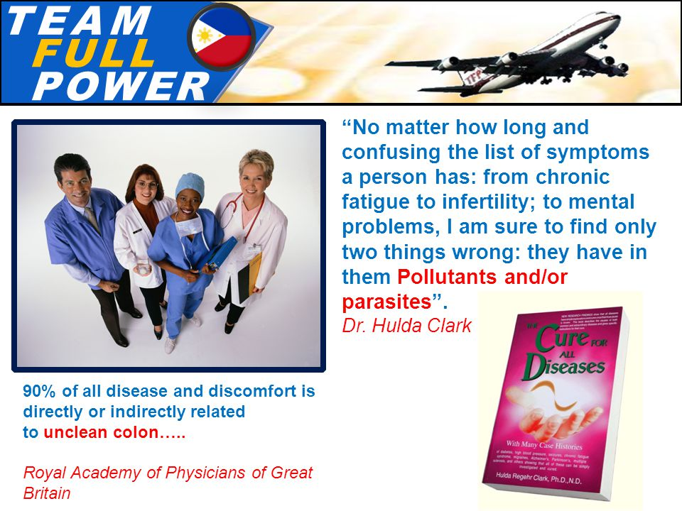 T.E.A.MT.E.A.M F.U.L.LF.U.L.L P.O.W.E.RP.O.W.E.R 90% of all disease and discomfort is directly or indirectly related to unclean colon…..