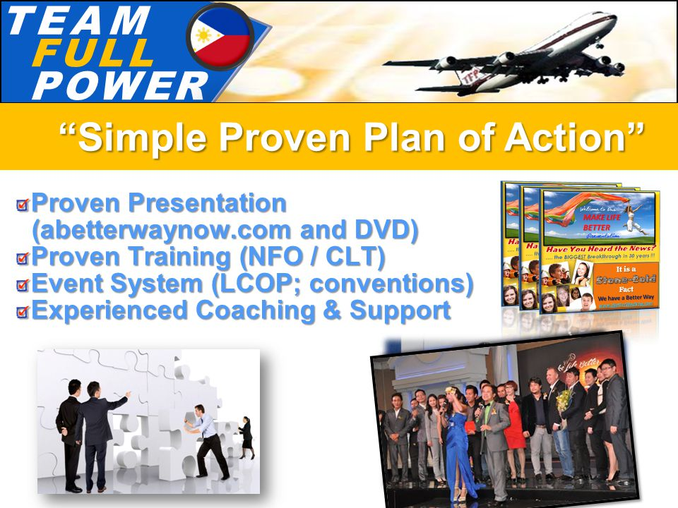 T.E.A.MT.E.A.M F.U.L.LF.U.L.L P.O.W.E.RP.O.W.E.R Proven Presentation (abetterwaynow.com and DVD) (abetterwaynow.com and DVD) Proven Training (NFO / CLT) Event System (LCOP; conventions) Experienced Coaching & Support Simple Proven Plan of Action