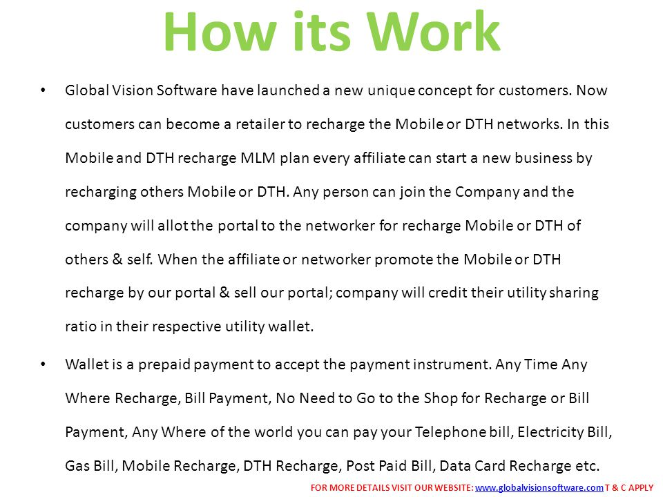 How its Work Global Vision Software have launched a new unique concept for customers.