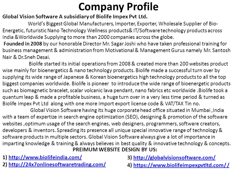 Global Vision Software A subsidiary of Biolife Impex Pvt Ltd.