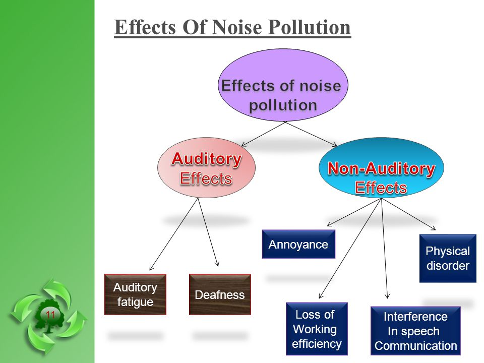Effects Of Noise Pollution Auditory Fatigue Deafness Auditory fatigue Loss of Working efficiency Annoyance Interference In speech Communication Physical disorder 11