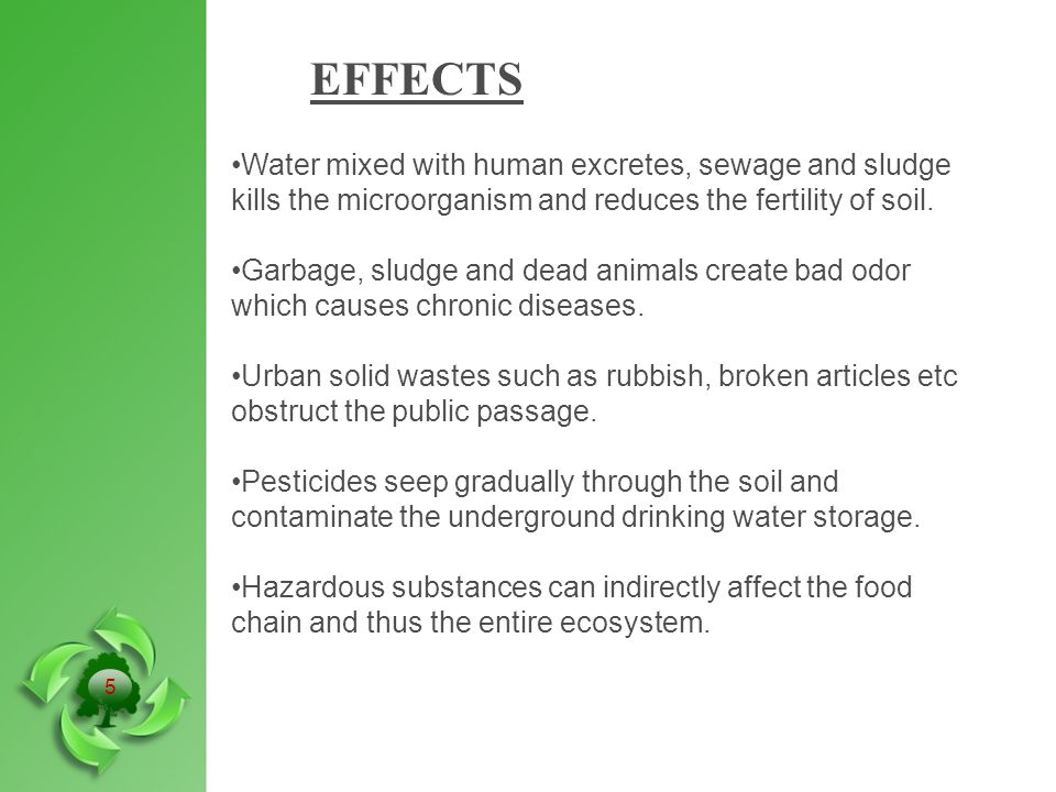 EFFECTS Water mixed with human excretes, sewage and sludge kills the microorganism and reduces the fertility of soil.