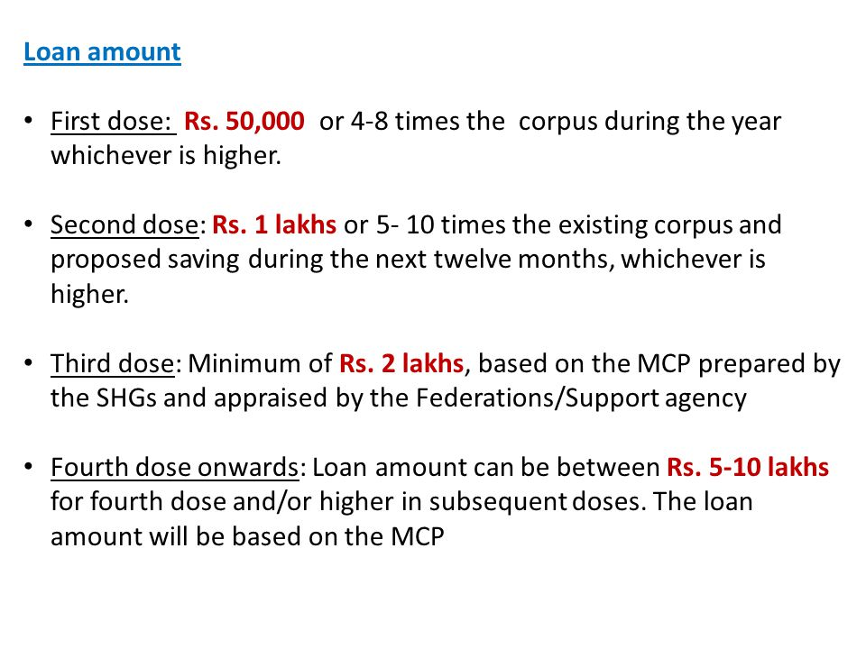 Loan amount First dose: Rs. 50,000 or 4-8 times the corpus during the year whichever is higher. Second dose: Rs. 1 lakhs or 5- 10 times the existing c