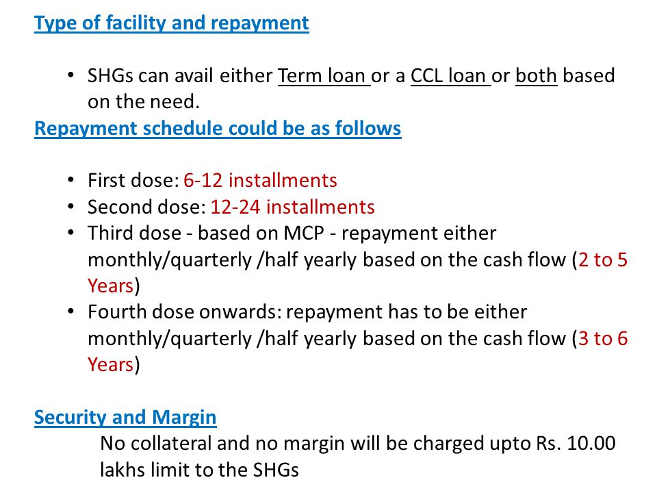 Type of facility and repayment SHGs can avail either Term loan or a CCL loan or both based on the need. Repayment schedule could be as follows First d