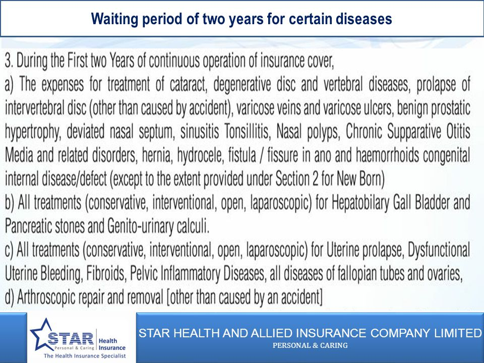 STAR HEALTH AND ALLIED INSURANCE COMPANY LIMITED PERSONAL & CARING STAR HEALTH AND ALLIED INSURANCE COMPANY LIMITED PERSONAL & CARING Waiting period of two years for certain diseases