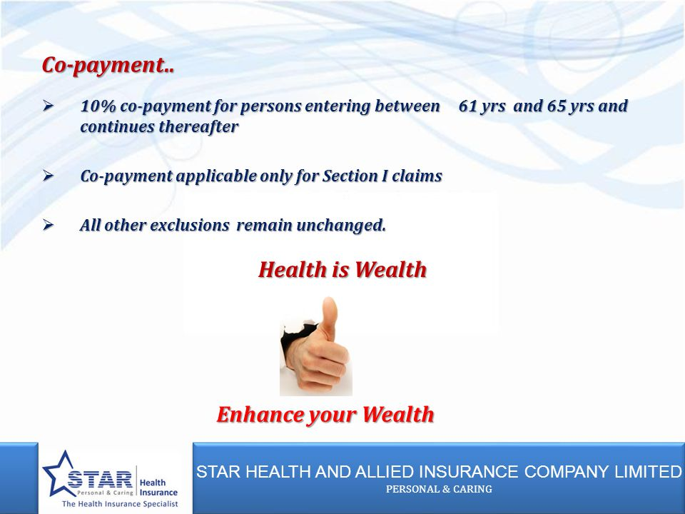 STAR HEALTH AND ALLIED INSURANCE COMPANY LIMITED PERSONAL & CARING STAR HEALTH AND ALLIED INSURANCE COMPANY LIMITED PERSONAL & CARING  10% co-payment for persons entering between 61 yrs and 65 yrs and continues thereafter  Co-payment applicable only for Section I claims  All other exclusions remain unchanged.