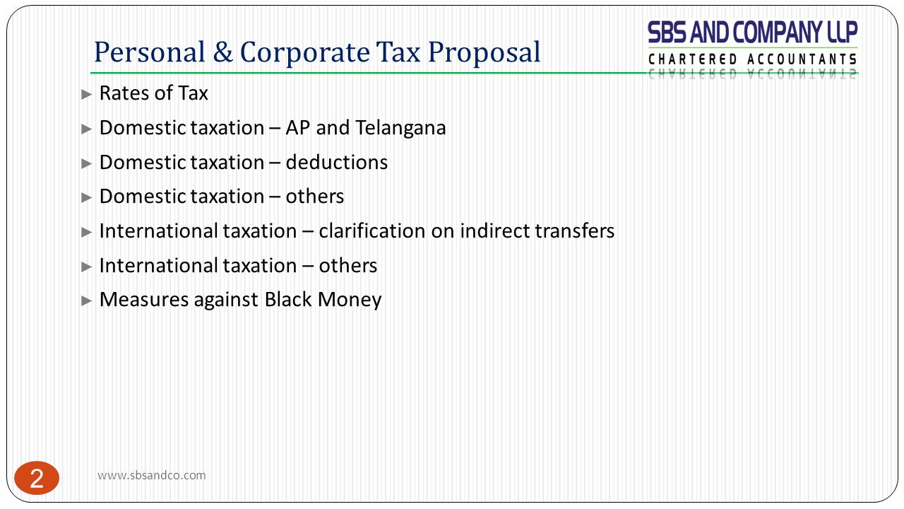 Personal & Corporate Tax Proposal ► Rates of Tax ► Domestic taxation – AP and Telangana ► Domestic taxation – deductions ► Domestic taxation – others