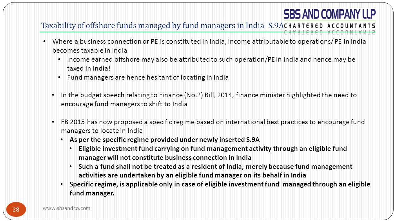 Taxability of offshore funds managed by fund managers in India- S.9A Where a business connection or PE is constituted in India, income attributable to