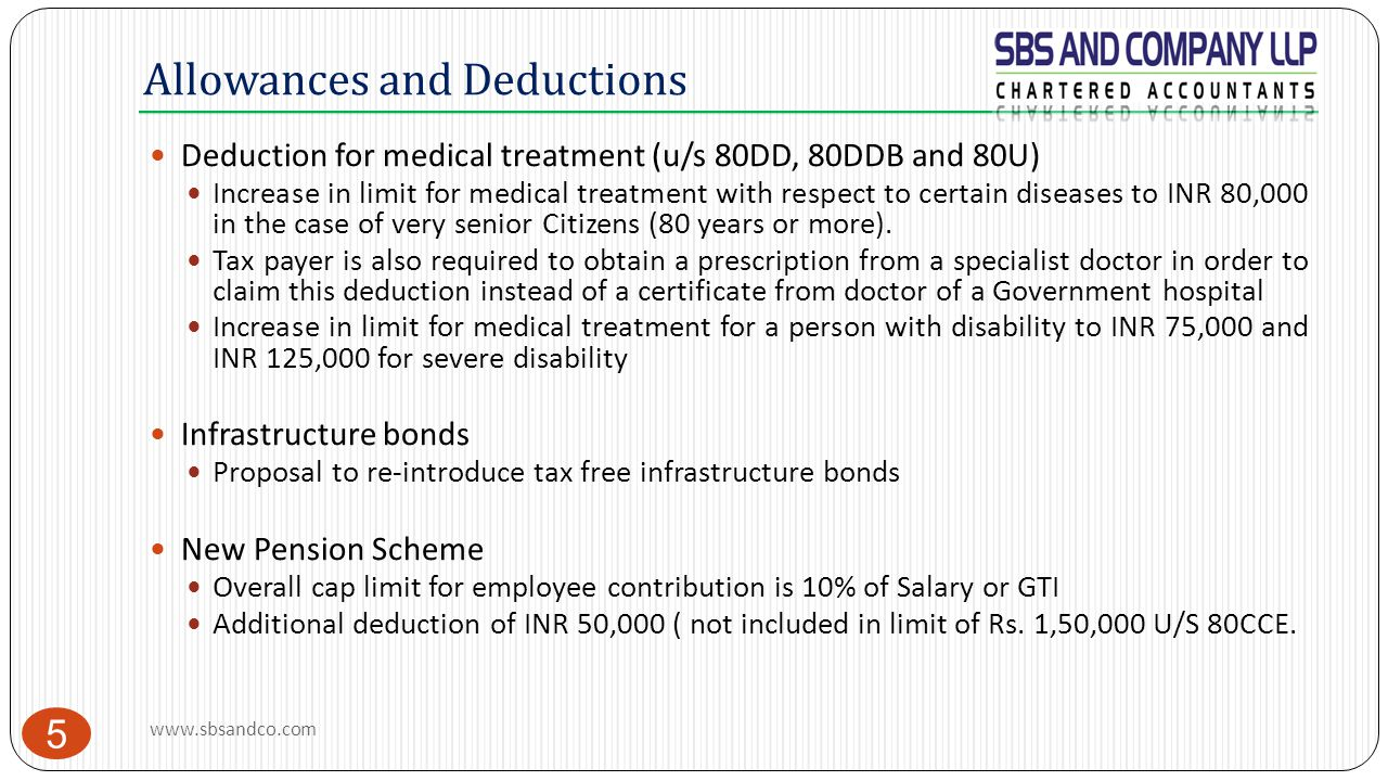 Allowances and Deductions 5 Deduction for medical treatment (u/s 80DD, 80DDB and 80U) Increase in limit for medical treatment with respect to certain