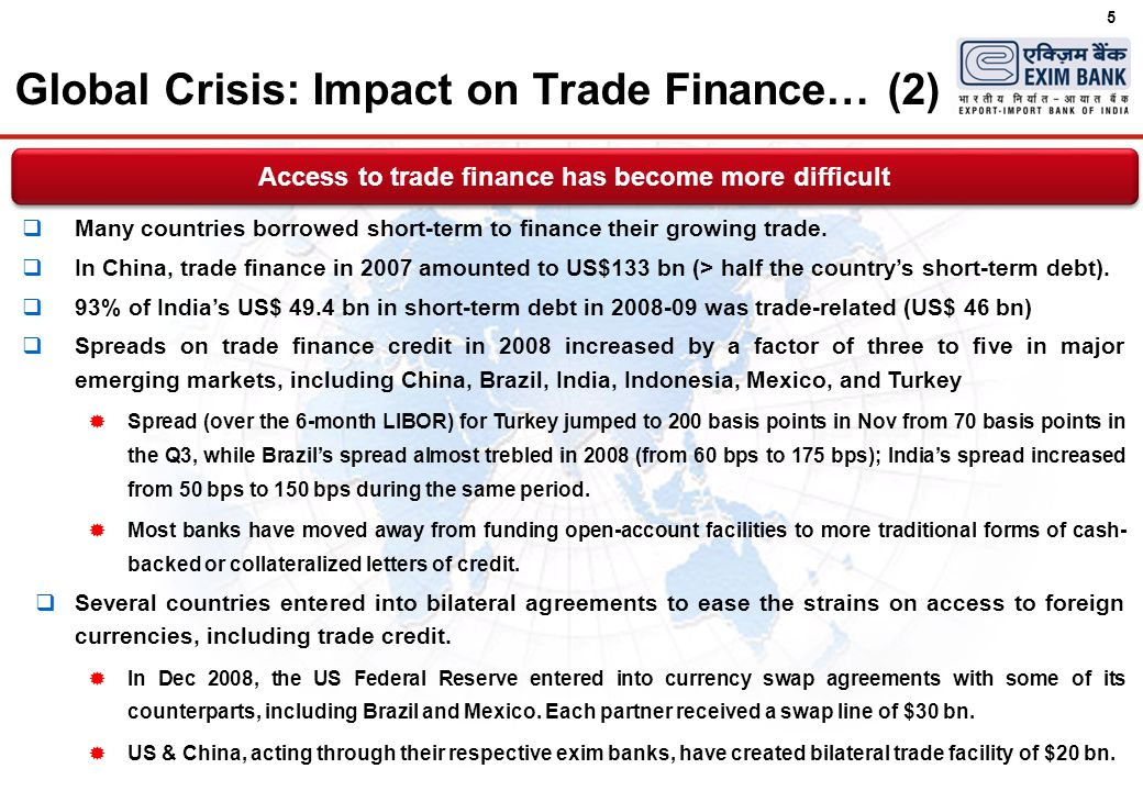 5  Many countries borrowed short-term to finance their growing trade.