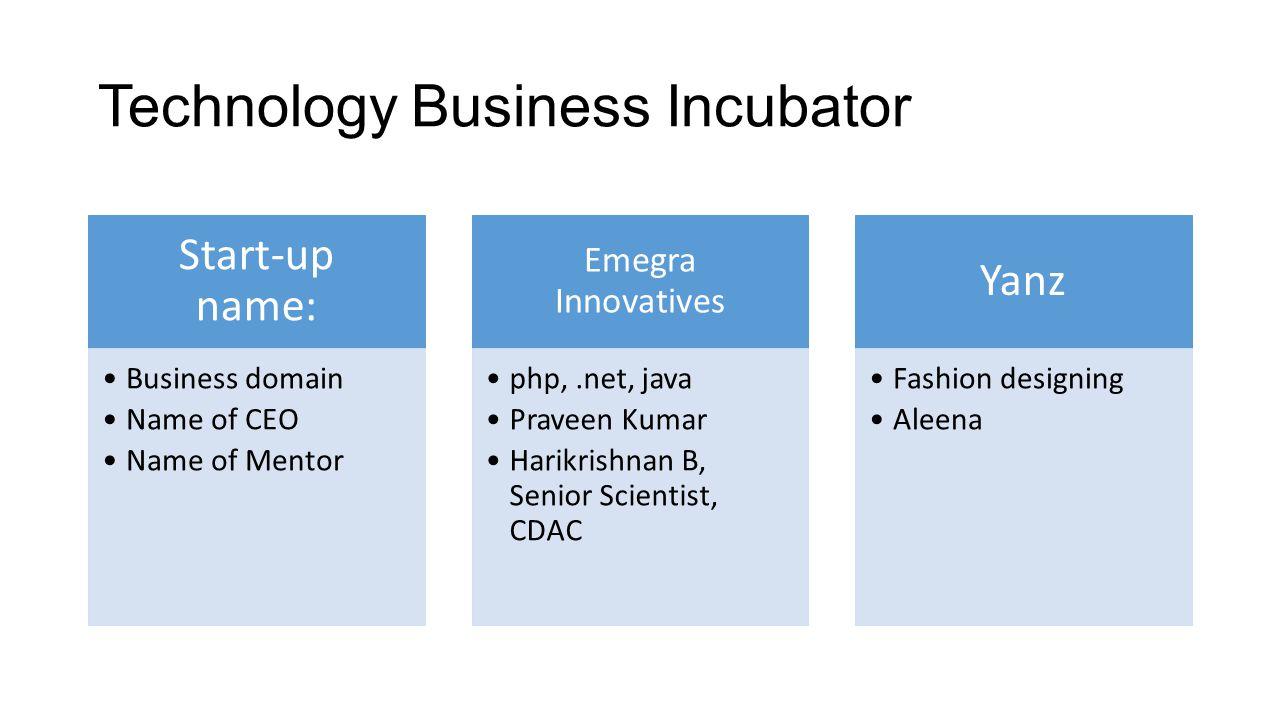 Technology Business Incubator Start-up name: Business domain Name of CEO Name of Mentor Emegra Innovatives php,.net, java Praveen Kumar Harikrishnan B
