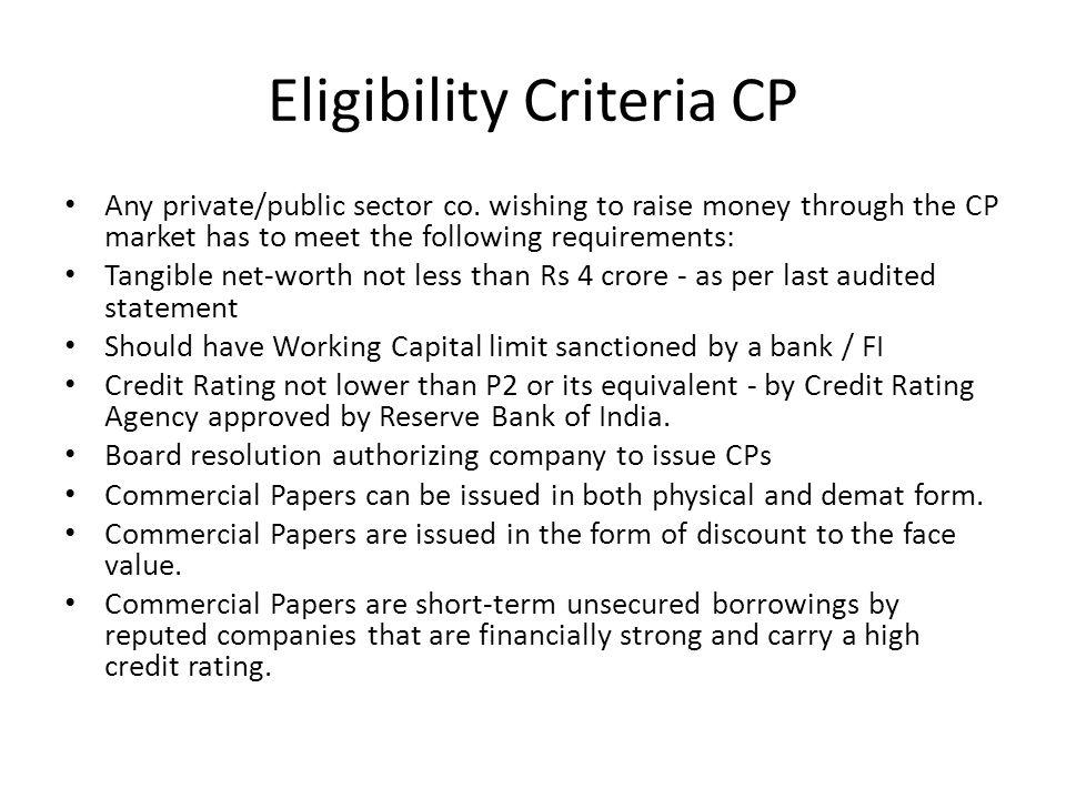 Eligibility Criteria CP Any private/public sector co.