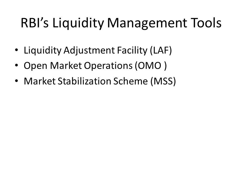 RBI's Liquidity Management Tools Liquidity Adjustment Facility (LAF) Open Market Operations (OMO ) Market Stabilization Scheme (MSS)