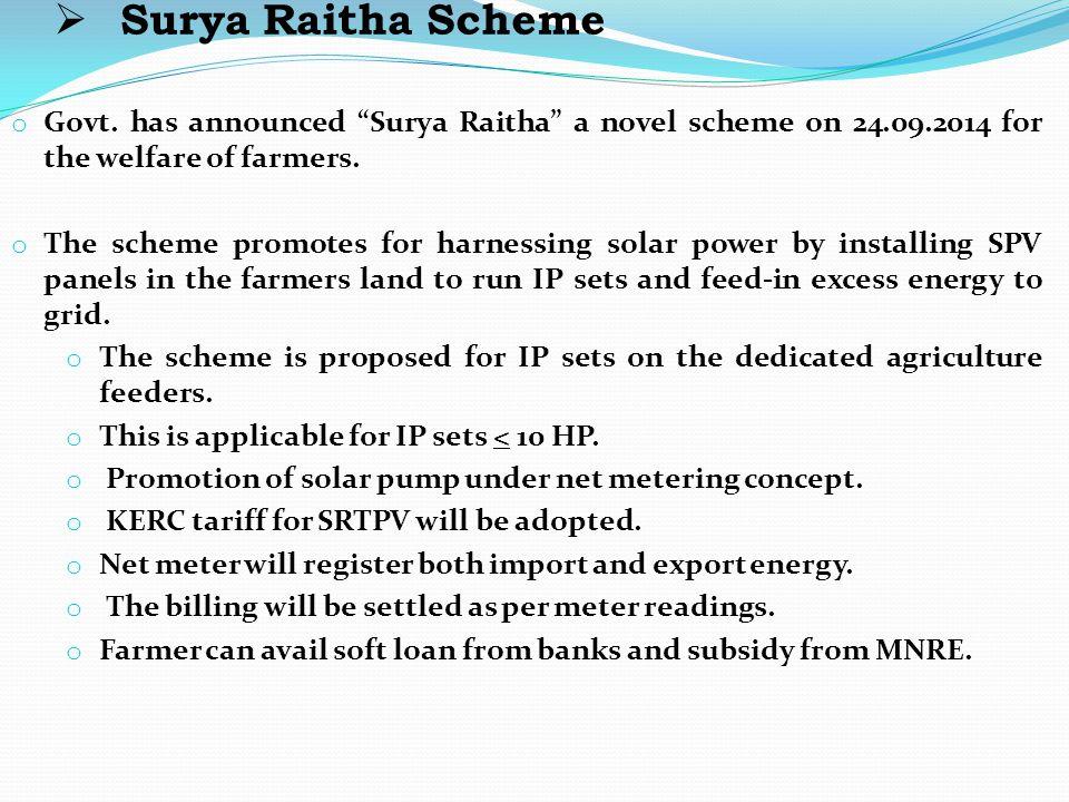 """ Surya Raitha Scheme o Govt. has announced """"Surya Raitha"""" a novel scheme on 24.09.2014 for the welfare of farmers. o The scheme promotes for harnessi"""