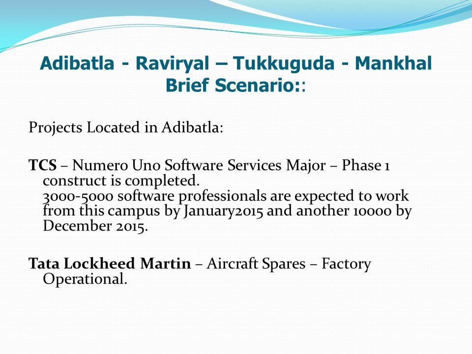 Adibatla - Raviryal – Tukkuguda - Mankhal Brief Scenario:: Projects Located in Adibatla: TCS – Numero Uno Software Services Major – Phase 1 construct